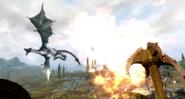 Dovahkiin walczący z lodowym smokiem (Skyrim)