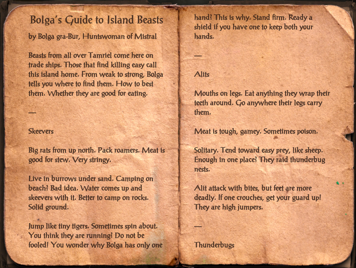 Bolga's Guide to Island Beasts