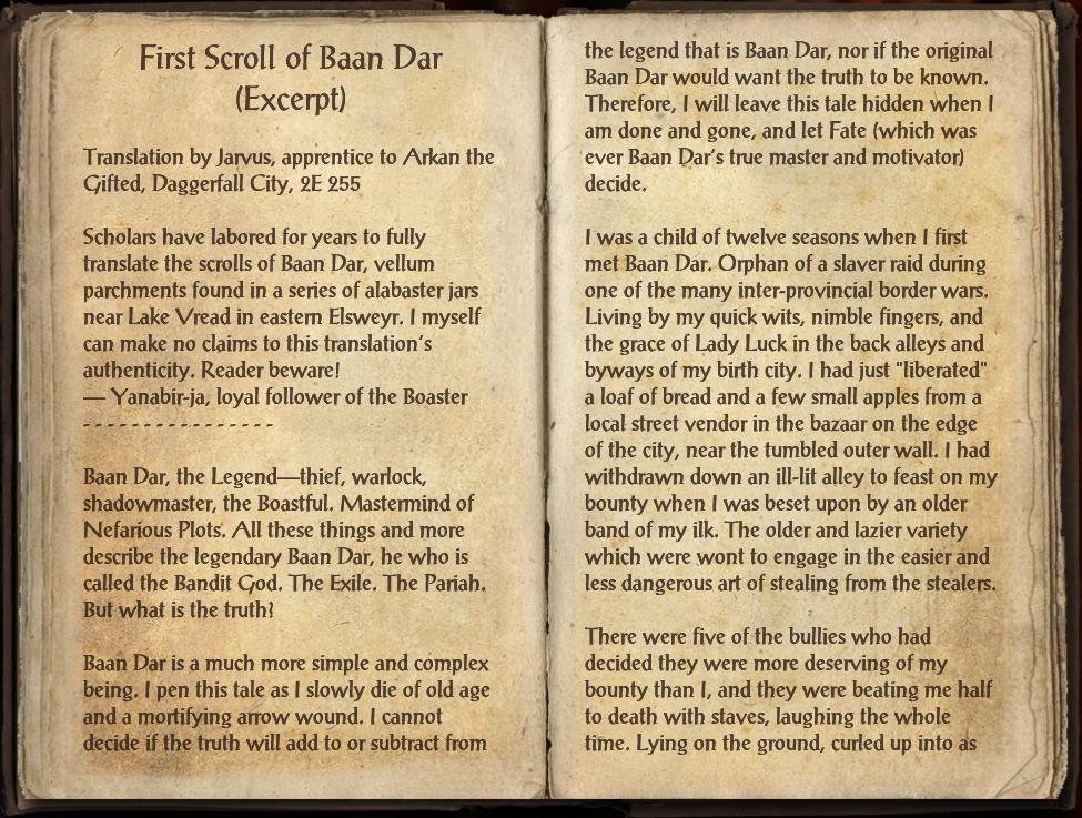 First Scroll of Baan Dar (Excerpt)