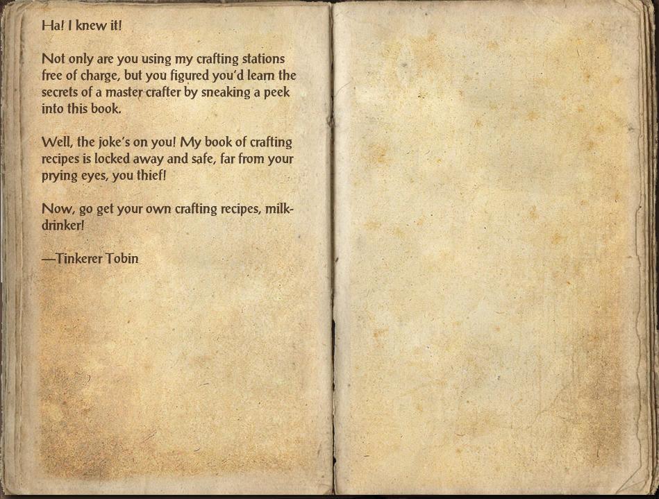 Tinkerer Tobin's Big Book of Crafting Recipes