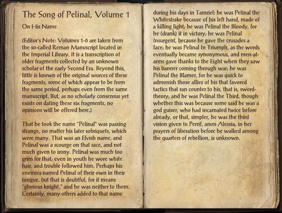 The Song of Pelinal, Volume 1