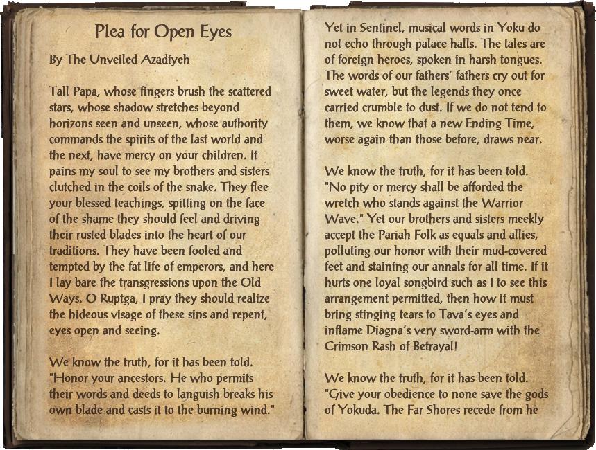 Plea for Open Eyes