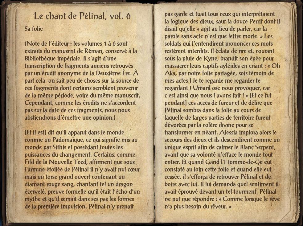 Le chant de Pélinal, Livre VI