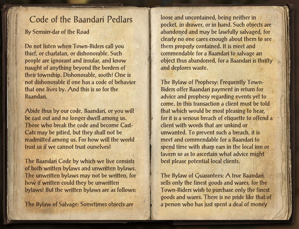 Code of the Baandari Pedlars