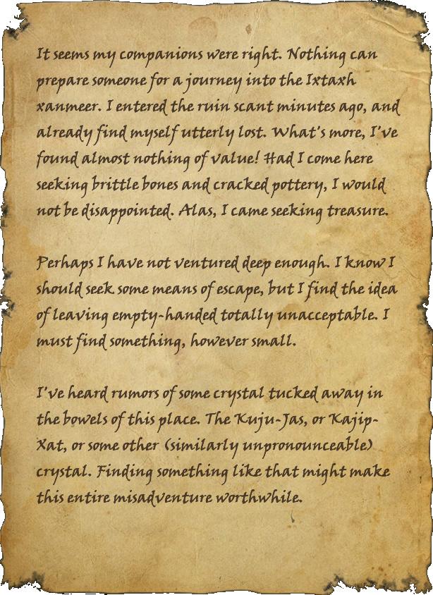 Ixtaxh Explorer's Journal, Page 1