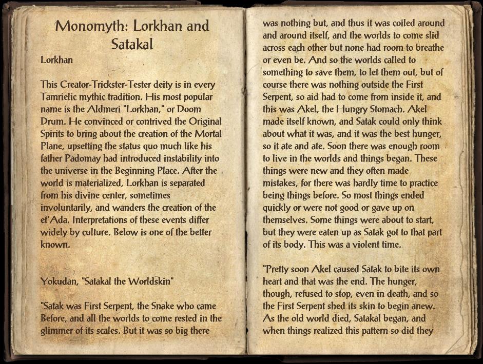 Monomyth: Lorkhan and Satakal