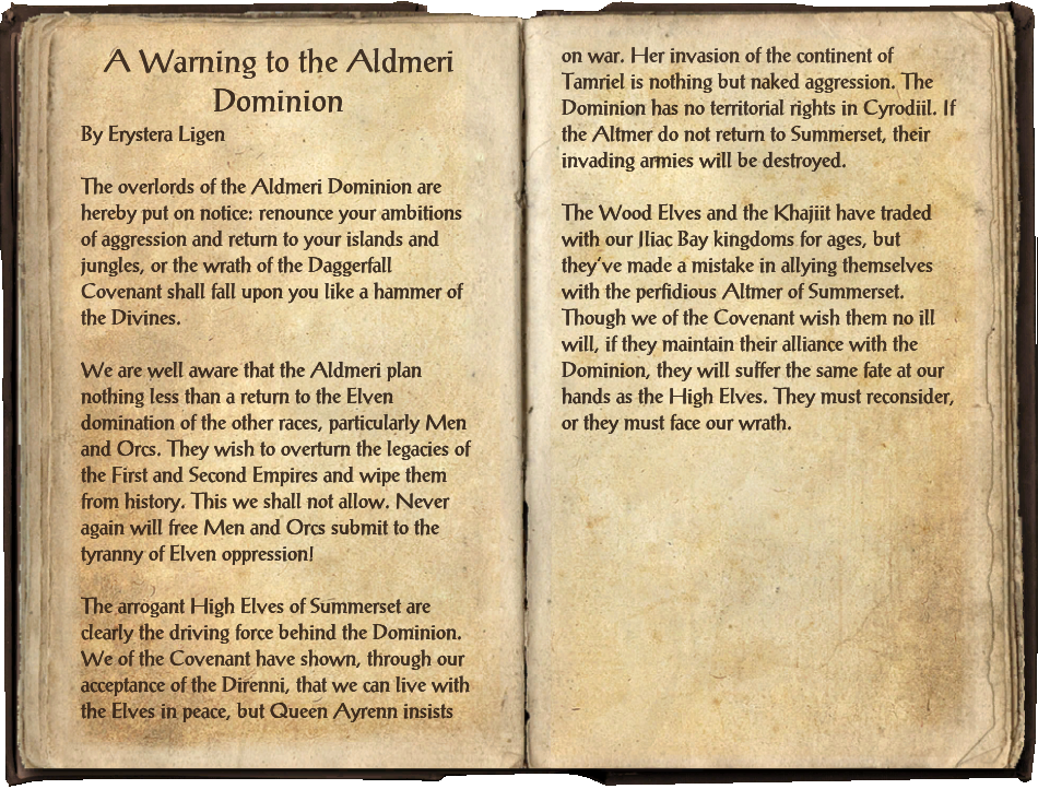 A Warning to the Aldmeri Dominion