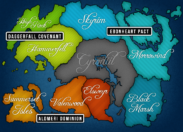 Mapa Elder Scrolls Online (podział na frakcje).png