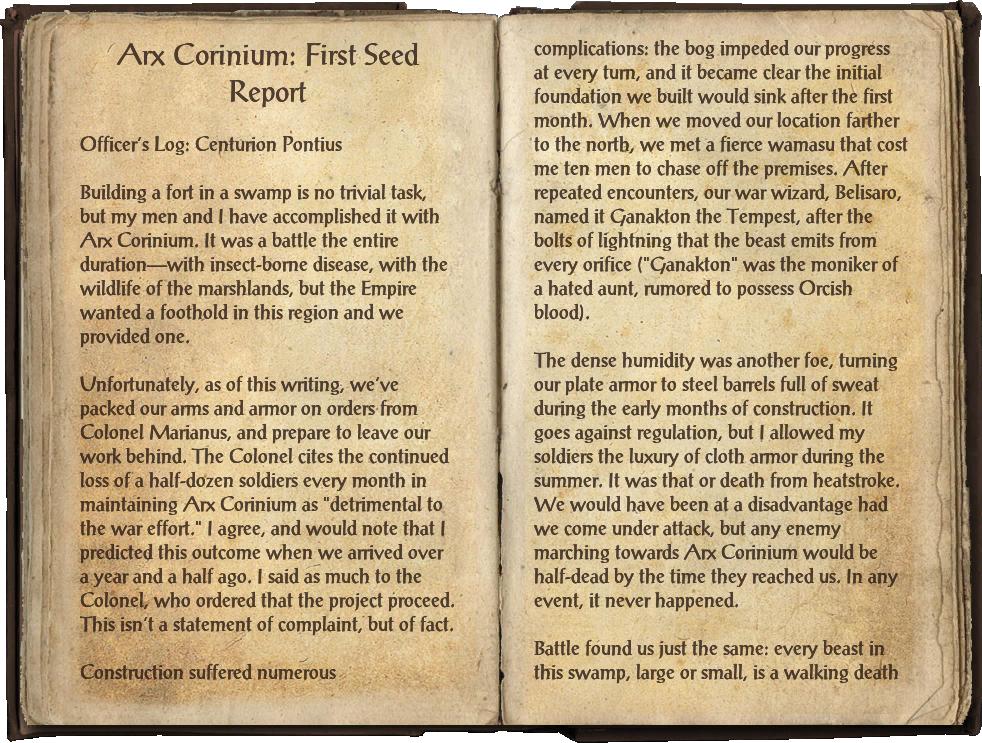 Arx Corinium: First Seed Report