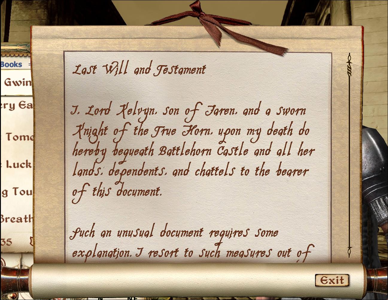 Lord Kelvyn's Last Will and Testament