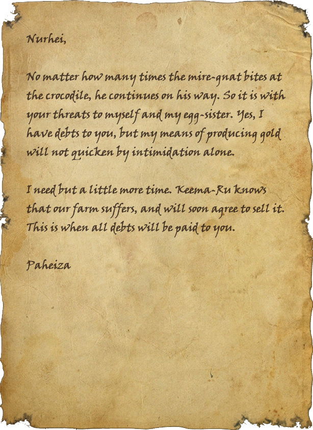Letter from Paheiza