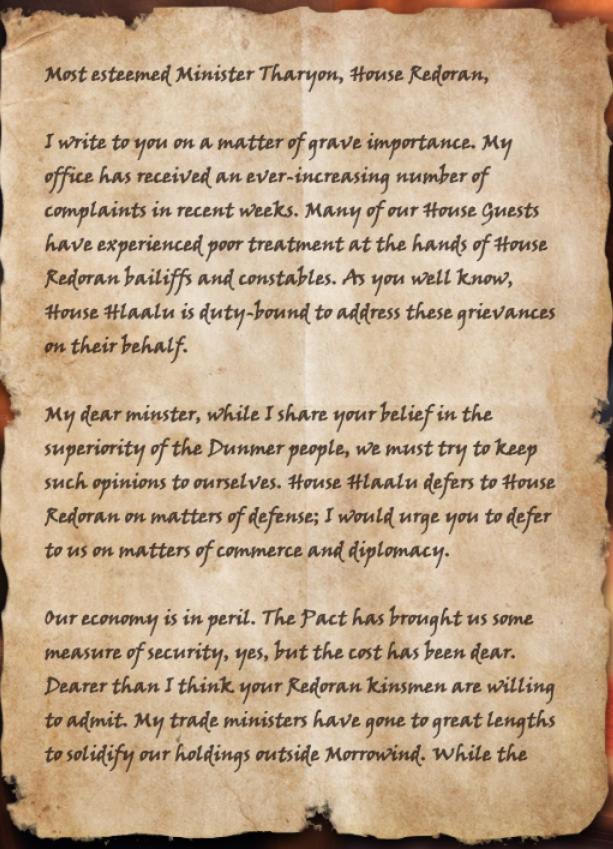 Hlaalu Letter of Complaint