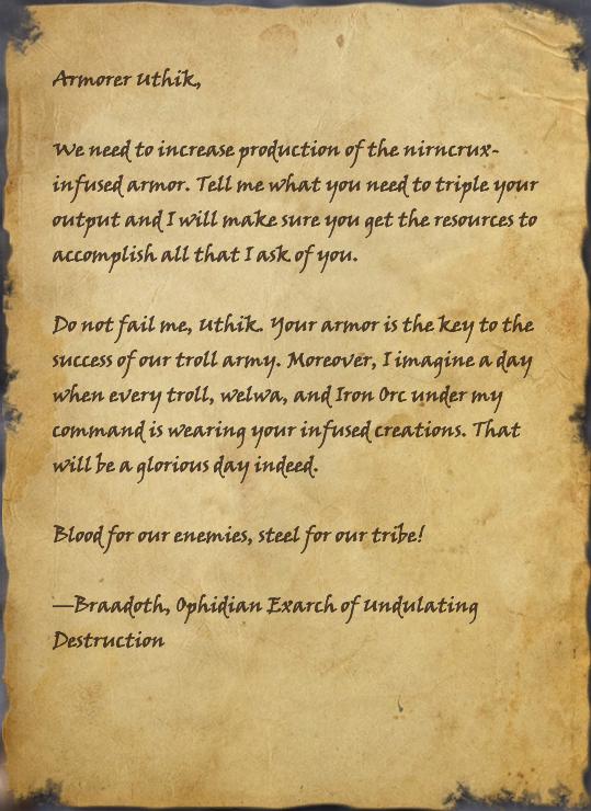 Letter to Armorer Uthik