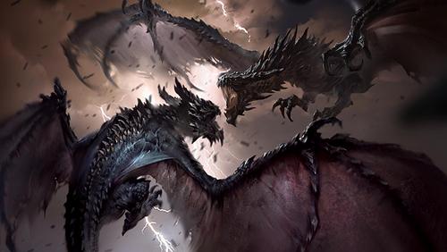 TESL SkyrimAnnounce Dragons.png