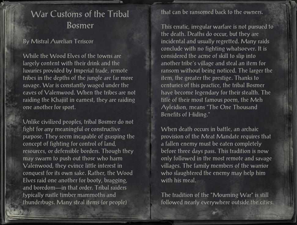 War Customs of the Tribal Bosmer