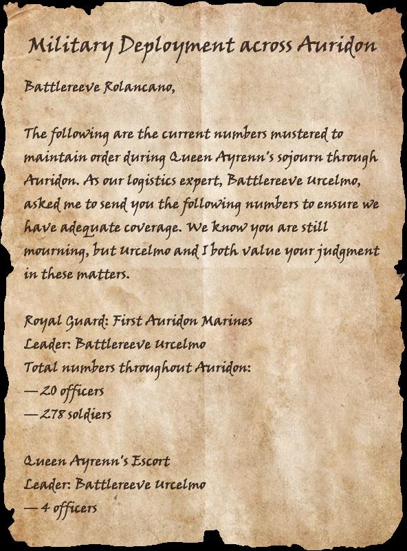 Military Deployment Across Auridon