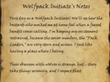 Wolfpack Initiate's Notes