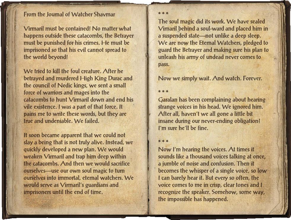 Watcher Shavmar's Journal