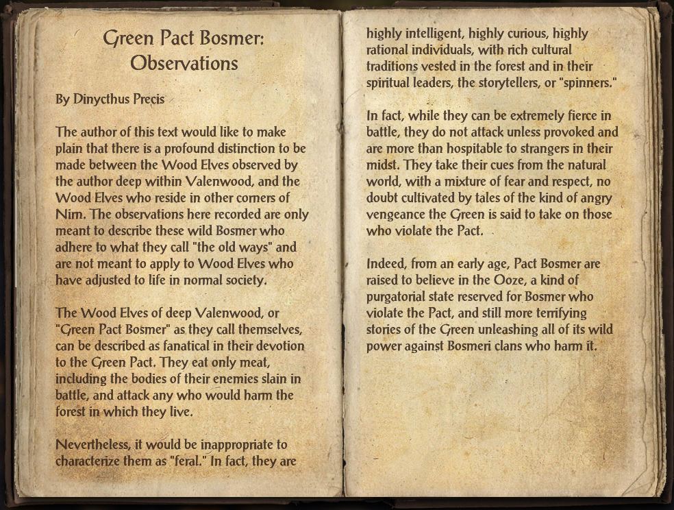 Green Pact Bosmer: Observations
