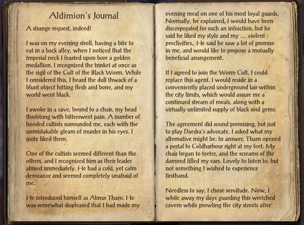 Aldimion's Journal