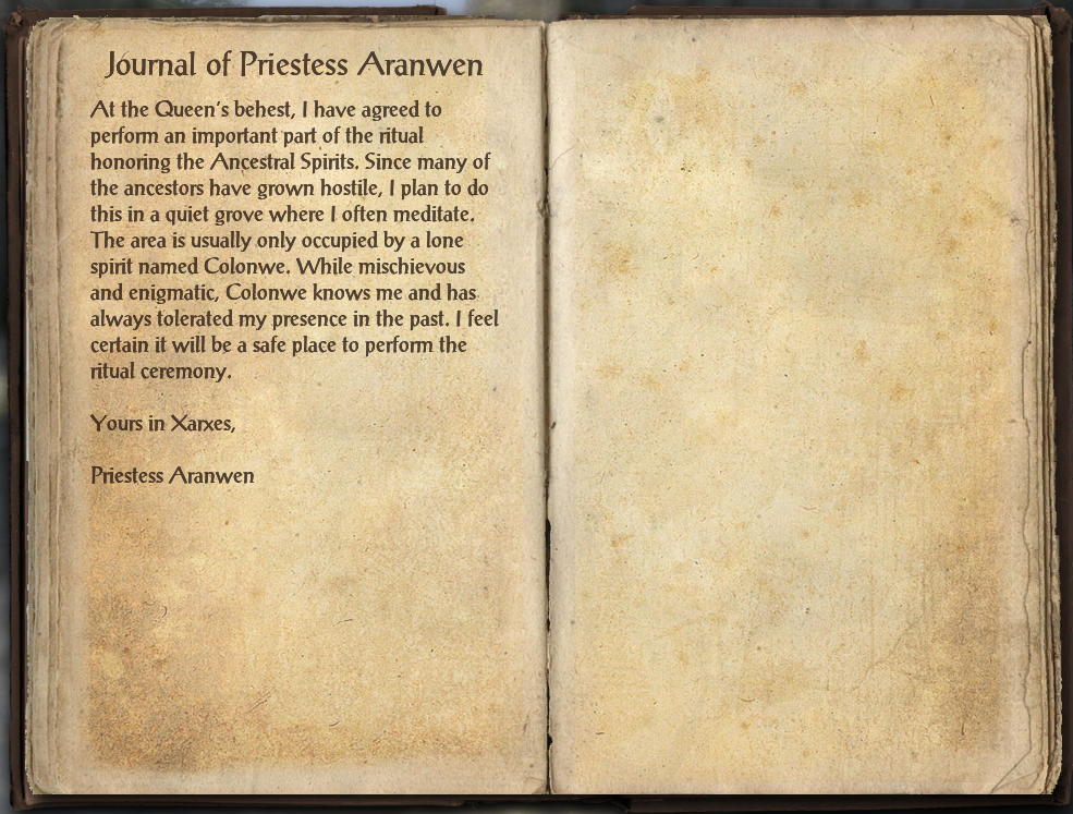 Journal of Priestess Aranwen