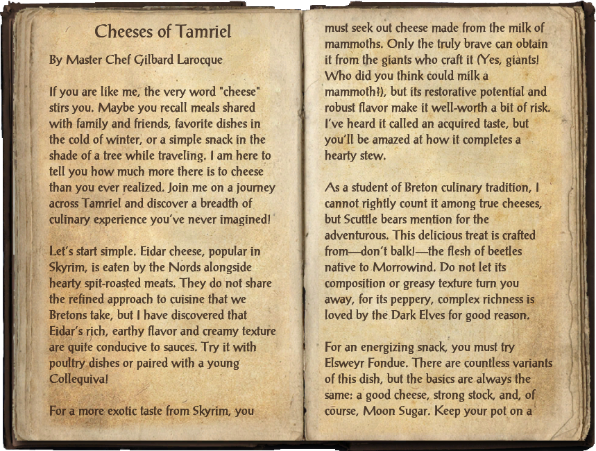 Cheeses of Tamriel