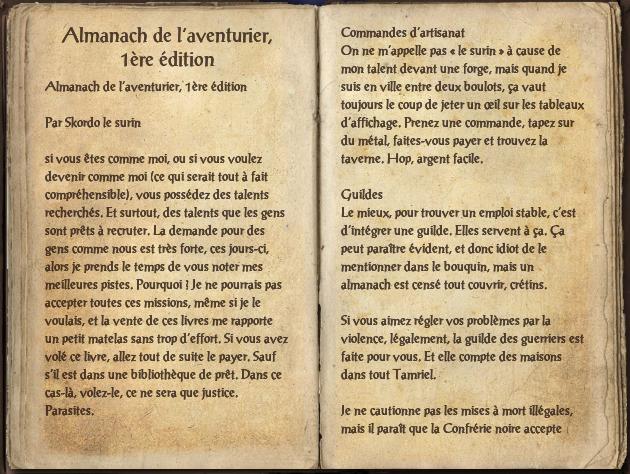 Almanach de l'aventurier, 1ère édition
