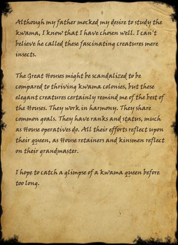 My Kwama Journal, Page 1