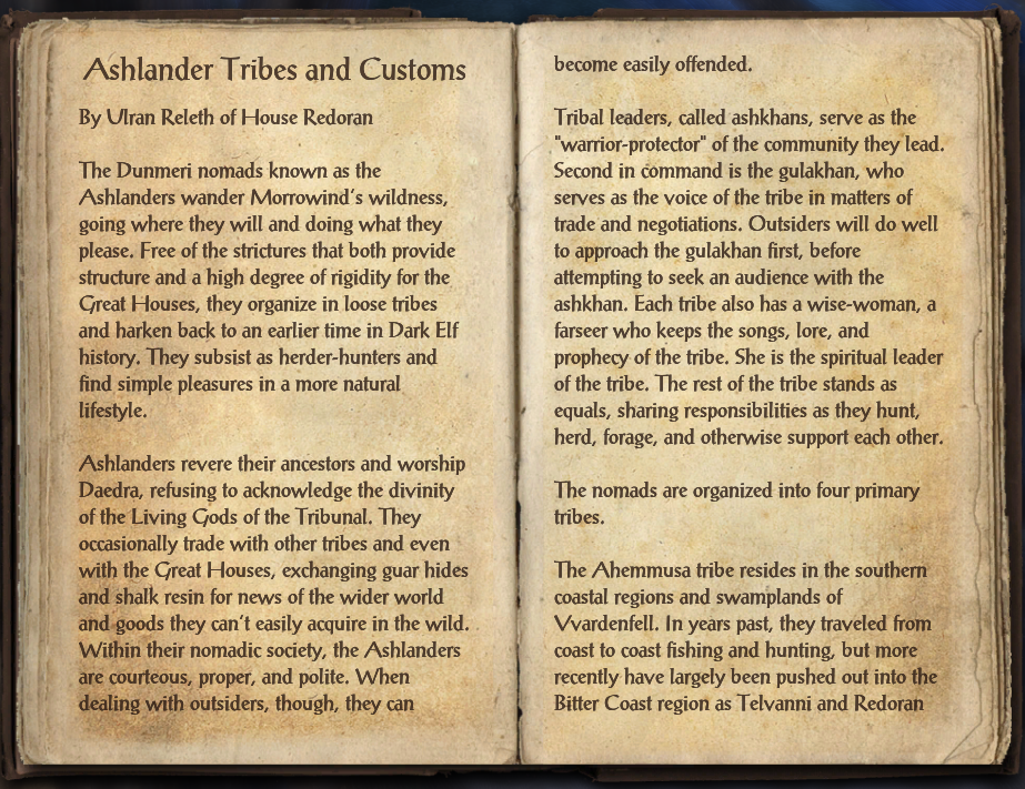 Ashlander Tribes and Customs