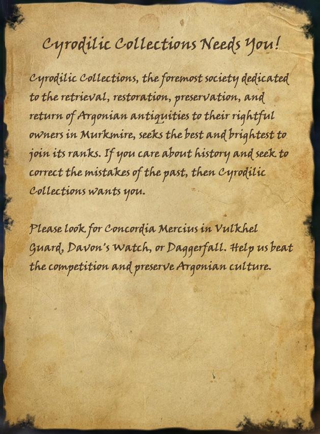 Cyrodilic Collections Needs You!