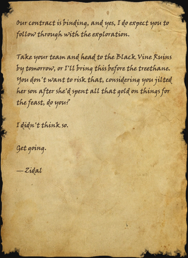 Note from Zidal