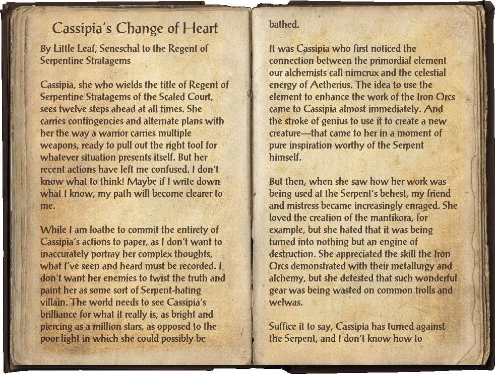 Cassipia's Change of Heart