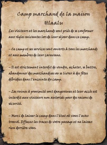 Camp marchand de la maison Hlaalu