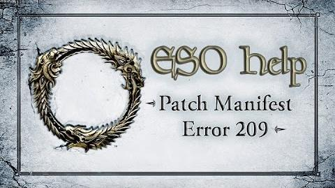 Patch Manifest Error 209 - The Elder Scrolls Online