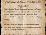 Anthology of Abodes Available for Acquisition