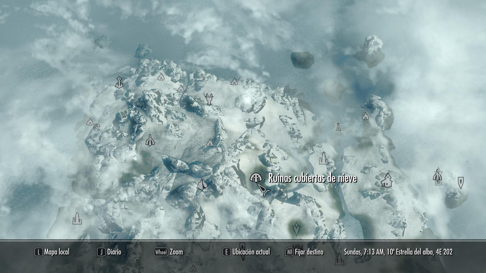 Ruinas cubiertas de nieve