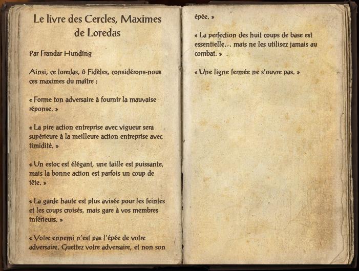 Le livre des cercles, maximes de Loredas