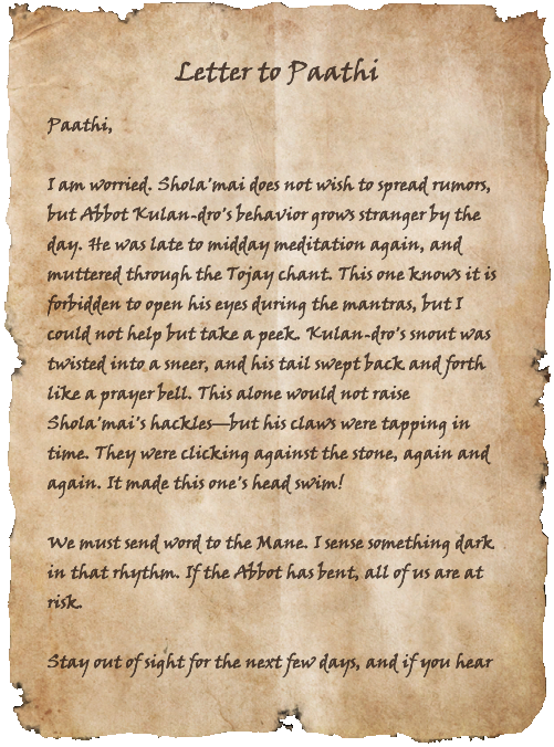 Letter to Paathi