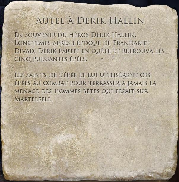 Autel à Derik Hallin