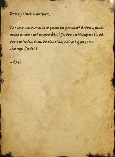 Fausse lettre de « Zali »