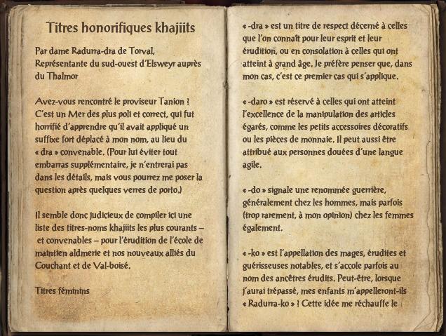 Titres honorifiques khajiits