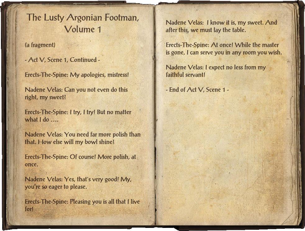 The Lusty Argonian Footman, Volume 1
