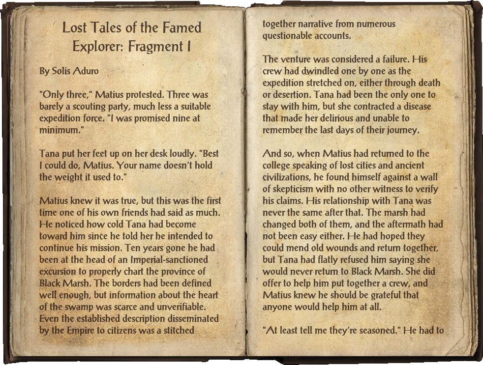 Lost Tales of the Famed Explorer: Fragment I