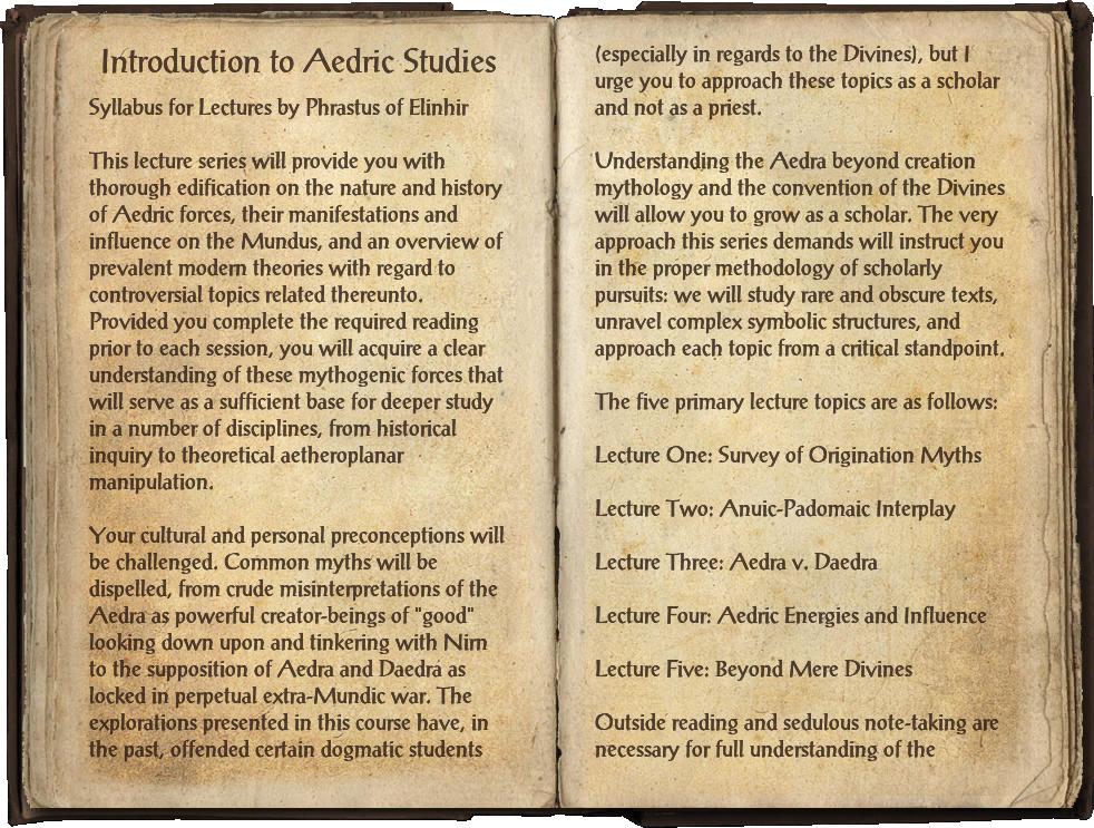 Introduction to Aedric Studies