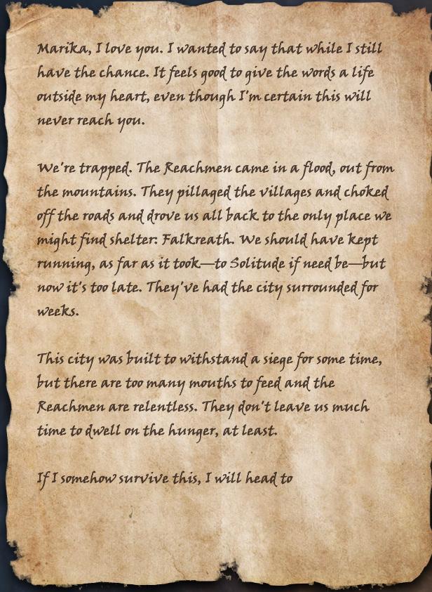 Unfinished Letter to Marika