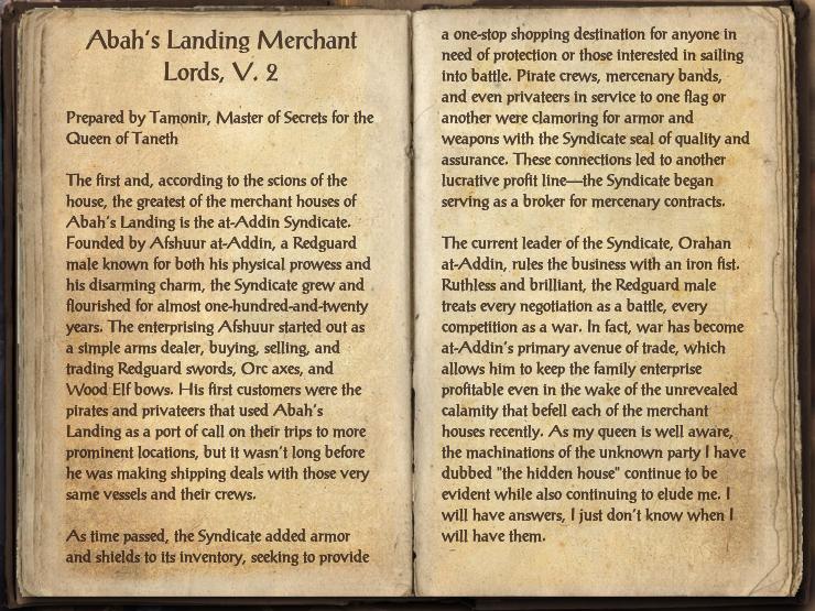 Abah's Landing Merchant Lords, V. 2