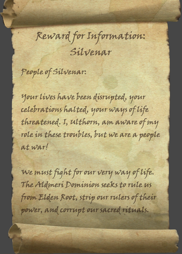 Reward for Information: Silvenar