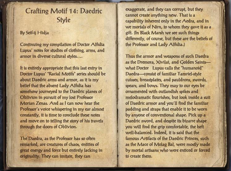 Crafting Motif 14: Daedric Style