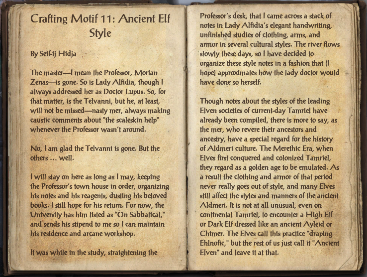 Crafting Motif 11: Ancient Elf Style