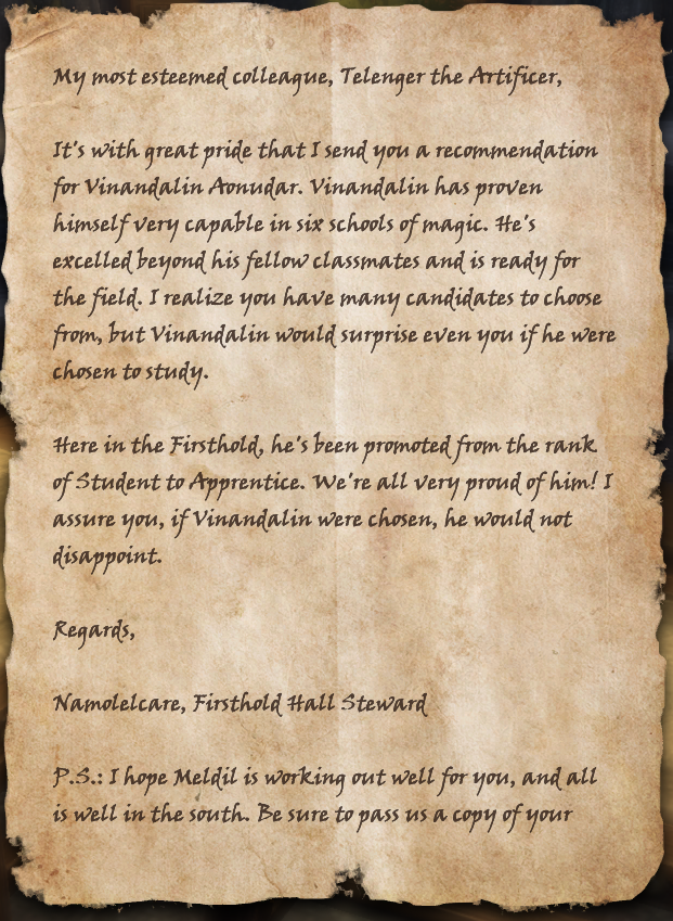 Letter to Telenger